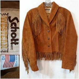 Vintage Schott NYC Western Fringe Suede Coat